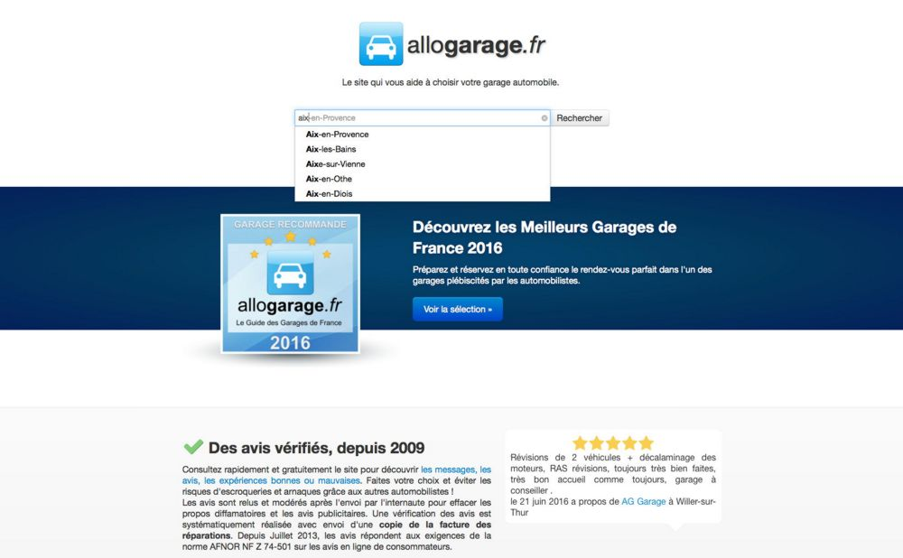 illustration du service Allogarage